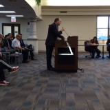 Mayor Scott Fadness presenting proclamation. (Photo by Beth Taylor)