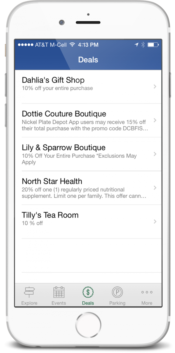 "A way that users can be notified on hot deals in the area is through the ""Deals"" section on the app."