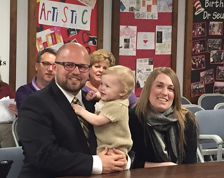 Brandon Ecker with wife, Brandy, and their 1-year-old daughter. Ecker and his family plan to move into the Mt. Vernon school district in the future.