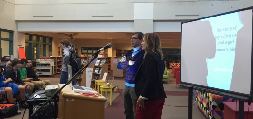 Author Jennifer Niven, with WHS Media Specialist Joel Bruns, presents her book to a few classes.
