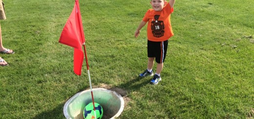 Cooper Williams celebrates his successfull shot at the Wood Wind Footgolf course. (Photo by Michelle Williams)