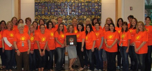 After Carey Ridge art teacher Katie Collier received her award, the staff of the school all wore Arts for Learning T-shirts to celebrate the honor. (Submitted photo)