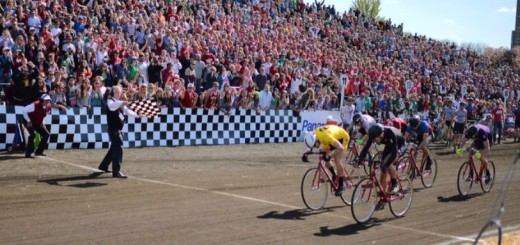 Nick Torrance crosses the finish line just ahead of the second place team to win the Little 500. (Submitted photo)