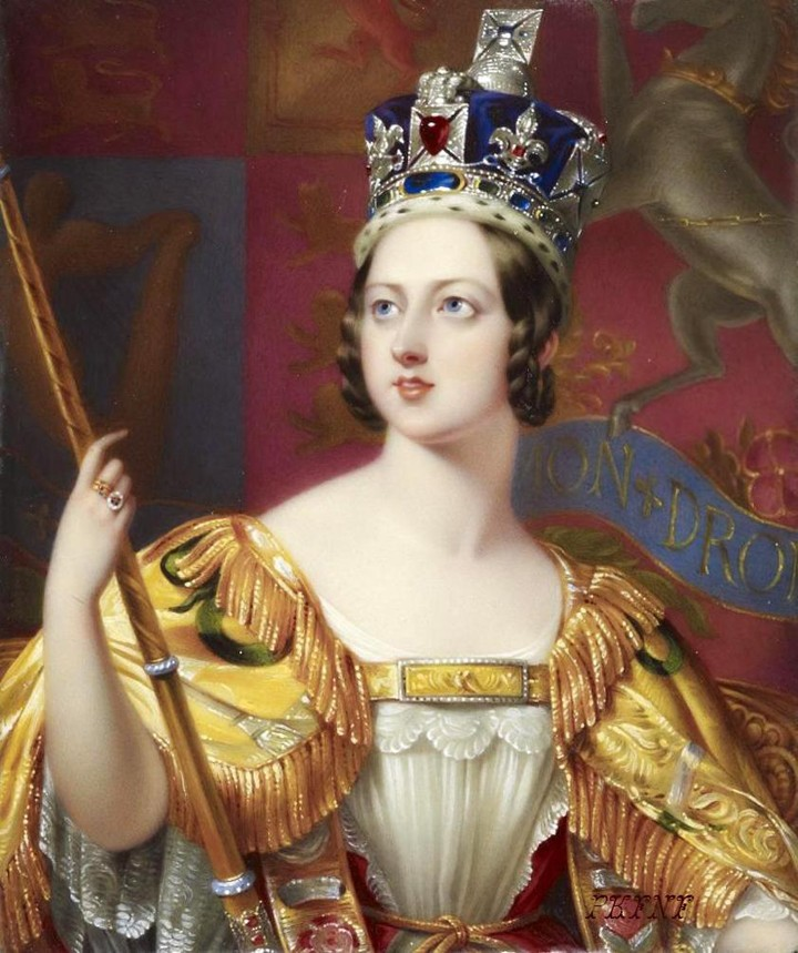 Portrait for the Coronation of Queen Victoria by George Hayter (detail), wearing the new Imperial State Crown made for her by the Crown Jewellers Rundell and Bridge, with 3093 gems, with the Black Prince's Ruby at the front. (Public Domain photo)