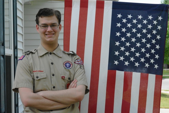 Jacob Wickham, a 17-year-old WHS student and Life Scout, will honorably retire American flags for his Boy Scout service project on July 4. (Photo by Michelle Williams)