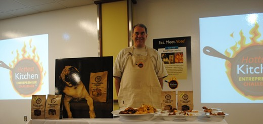 Mark McSweeney with his Broad Ripple Chip Co. booth at the Hottest Kitchen Competition June 24. (Photo by Anna Skinner)