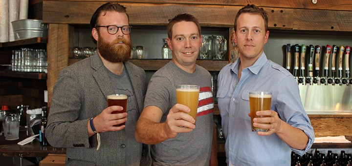 Indiana On Tap staff Adam Schick, from left, Joel Bozman and Justin Knepp raise their glasses at Upland Taproom in Carmel.. (Submitted photo)