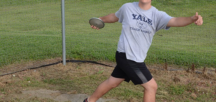 Marcus Downs, a recent Park Tudor High School graduate, will be heading to Yale in the fall to throw discus and study. (Photo by Theresa Skutt)