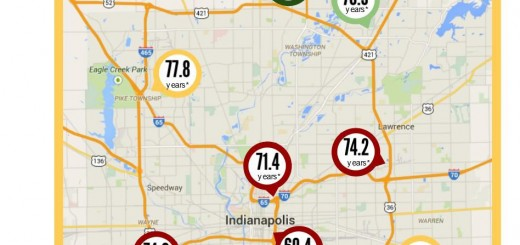 This map shows how long people are expected to live, on average, in central Indiana. (Submitted map)