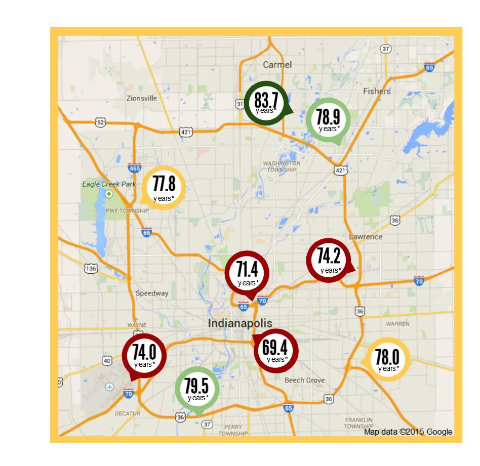 Central Indiana Map.Study Finds Surprising Gap In Life Expectancy In Central Indiana