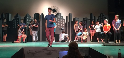 """The ensemble rehearses """"Step in Time"""" on stage, with Matt Conwell, who plays Bert, center stage. (Submitted photo)"""