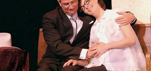 "Characters Mervin, played by John Vessels, and June, played by Sarah Hund, in ""Smoke on the Mountain: Homecoming"" which is now playing at Beef & Boards dinner theater. (Submitted photo)"