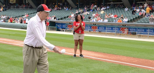 Chalmer Springer talks a lifetime of sports and throwing the first pitch at an Indianapolis Indians game. (Photo by Theresa Skutt)