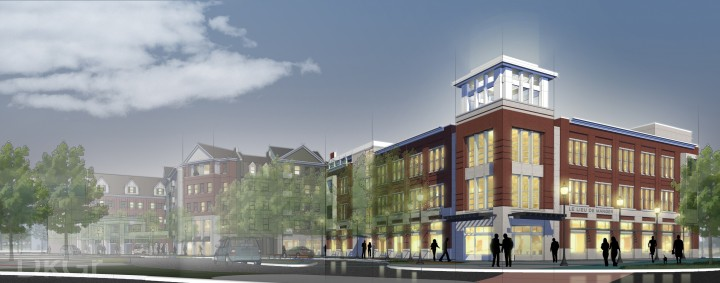 a rendering of the Loftus Robinson building, also known as The Switch, in the Nickel Plate District.