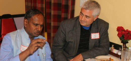 Zionsville Mayor Jeff Papa visits with Dr. Udit Raj, a member of parliament in India, at a dinner reception held Aug. 23 in Carmel.