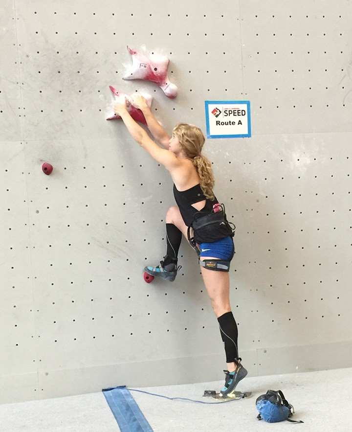Megan Carr prepares to scale a climbing wall during a competition. (Submitted photo)
