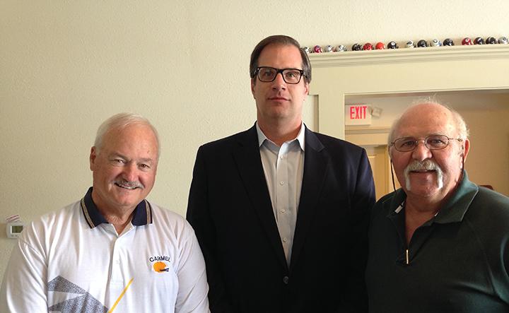 Carmel Football Alumni Club members Terry Prather, Jon Burman and Keith Fiedler. (Photo by Mark Ambrogi)