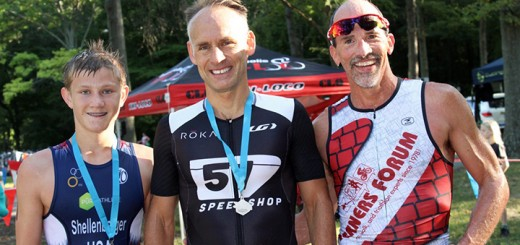 """The three top winners took time to pose for """"Where's Amy?"""" minutes after crossing the finish line. Drew Shellenberger, Indianapolis, and David Foresee and Mike Smith, both of Carmel. said they look forward to the friendly but fierce competition at the triathlons."""