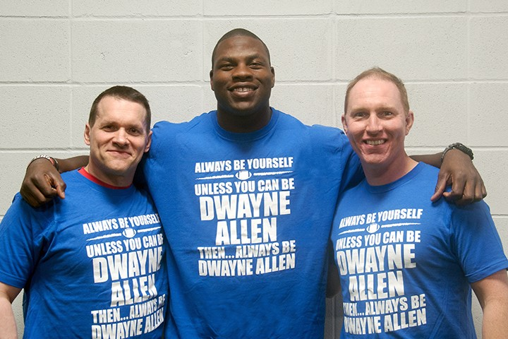Bill Hartman, from left, Colts tight end Dwayne Allen and Mark Robertson. (Submitted photo)