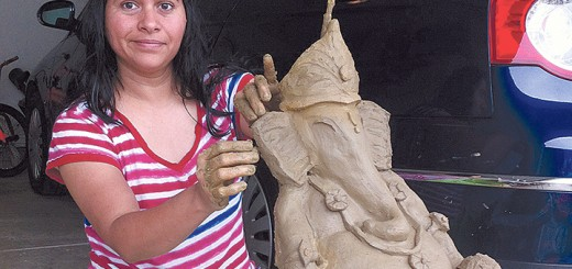 Kalpana Naik with one of her sculptures. (Submitted photo)