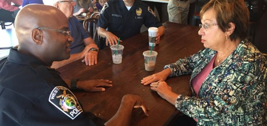 Capt. Charles Hollowell and Mary Jo Maskew of Westfield talk over coffee. (Photos by Sadie Hunter)