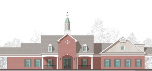 This rendering shows a front view of the complex's clubhouse. (Source: City of Westfield)