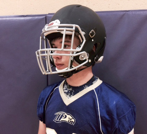 The helmets, such as this one worn by sophomore Jered Crowder, were purchased with financial help from TPCA parents. (submitted photo)
