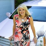 Susan Finley owns the only pink Cadillac in Zionsville, a sign of her success with Mary Kay. (Photo by Lisa Price)