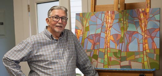 Artist Jerry Points still enjoys painting, although a severe case of shingles has made the process much more difficult. (Photo by Sam Aasen)