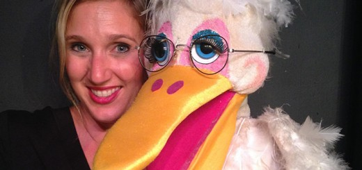 Sherman the Pelican with Heidi Shackleford the puppeteer. (Submitted photo)