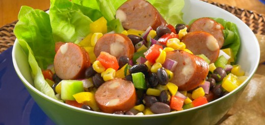 Try a lighter fare with chicken sausage in this Black Bean Salad. (Submitted photo)