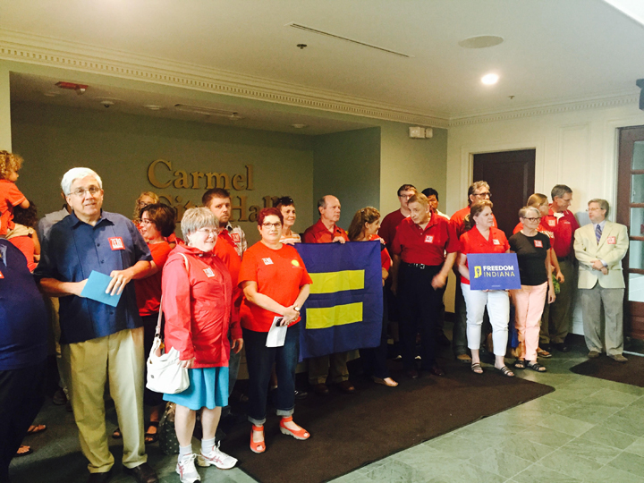 Carmel residents inside City Hall before the city council meeting, where the council will vote on whether to have an equal rights ordinance in Carmel. (Photo by Adam Aasen)
