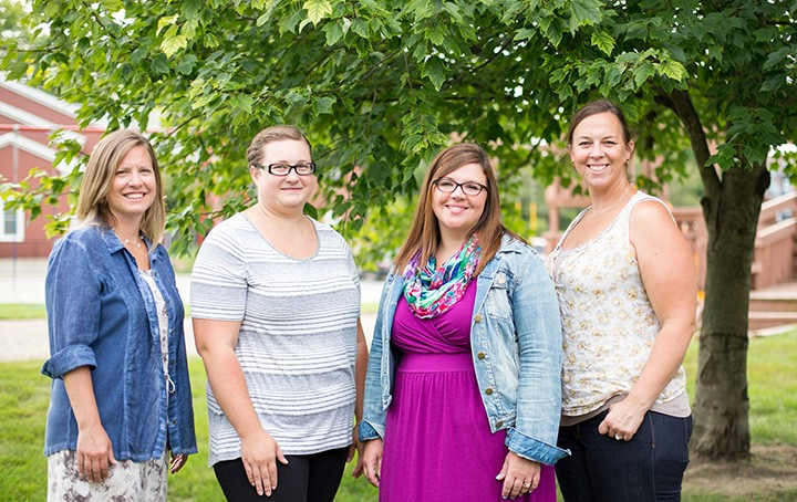 From left, teacher Claire Cesjlarev and founding members Sarah Cook, Angela Wills and Courtney McCracken are starting The Limberlost School this fall, the area's first cooperative elementary school. (Photo by Zach Dobson)