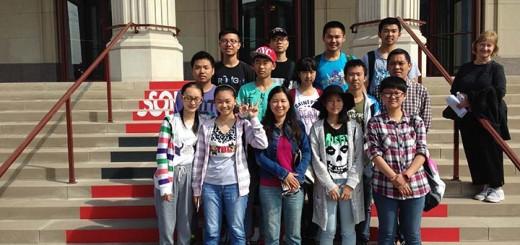 A group of students from Xiangyang, China, visit the Palladium. (Photo by Mark Ambrogi)