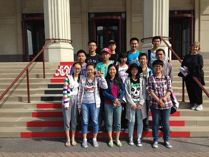 A group of students from Xiangyang, China, visit the Palladium. (Photo by Mark Ambrogi)