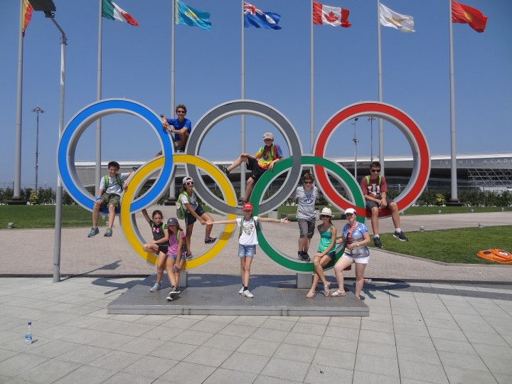 Daniel Lerner, Elan Varhan, Elyse Wiener, Alana Kusel, Elise Varhan, Katerina Folkin, Michael Lerner, Jacob Wiener, Victoria Gladkov, Tatyana Komarova and Ben Jusel visit the site of the 2014 Olympics in Sochi, Russia. (submitted photo)