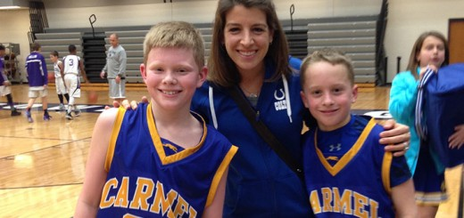 Sarah Awe with students Daniel Cunningham, left, and Lucas Lemme. (Submitted photo)