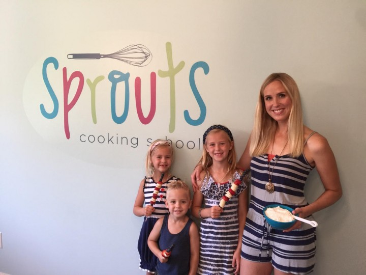 Drewry with her three children, Emma, Grace and Jack in their home studio for Sprouts Cooking School. (Submitted photo)