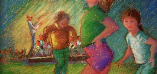 Ward Degler captured kids dancing to the music of the symphony in a painting, which was used to promote concerts the following year. (painting by Ward Degler)