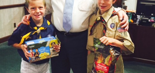 Carmel Mayor Jim Brainard, center, welcomes Carmel Boy Scouts Grant and William Garner to his office Sept. 21.