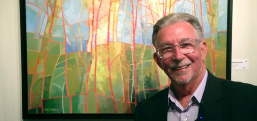 Jerry Points, who organized Carmel on Canvas for its first year, with one of his paintings. (File photo)