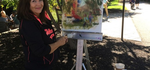 Susan Mauck of Westfield works on a painting.