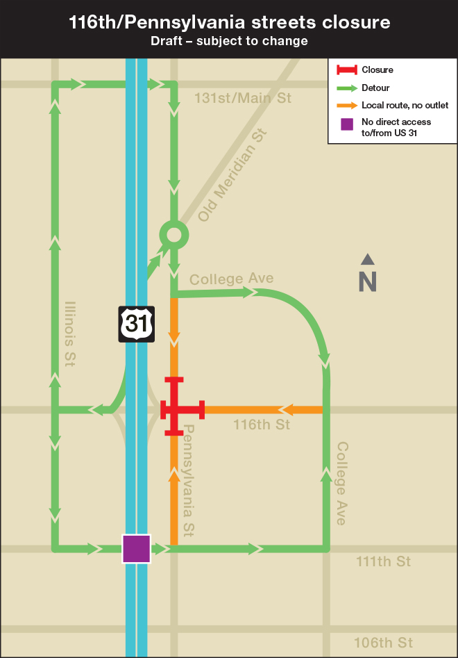 A map of the closures and alternate routes at the 116th Street and U.S. 31 interchange. (Source: US31HamiltonCounty.in.gov)