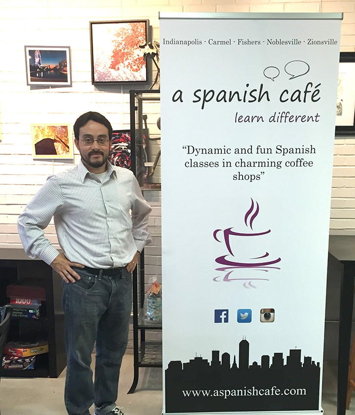 Fernando Yanez, the creator of A Spanish Café, at the grand opening of the new organization at Soho Café in Carmel. (Photo by Anna Skinner)