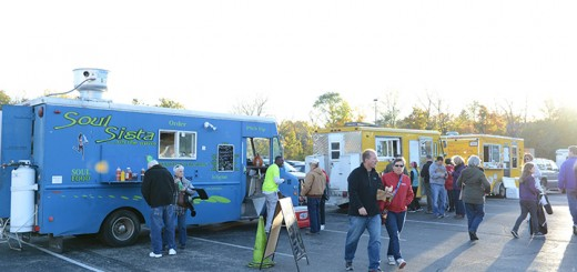 Food trucks lined the parking lot near the football stadium.