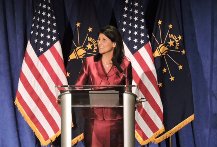 S.C. Gov. Nikki Haley addresses the crowd at the Indiana GOP Fall Dinner. (Photo by Adam Aasen)