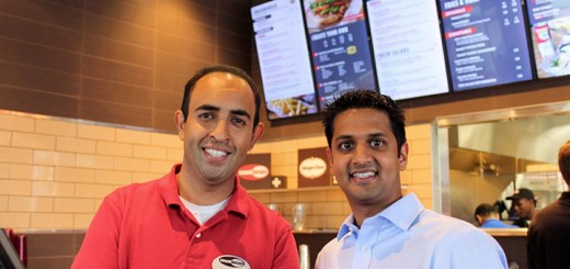 Managing partners Patel and Khanna at the opening of their restaurant. (Photos by Amy Pauszek)