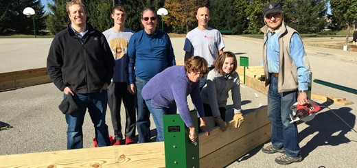 The Westfield Rotary Club, along with some other volunteers, installed the dodge ball pits at the intermediate school. Back, from left: Clinton Gable, Caleb Quick, Michael Crews, Kurt Taylor and Mic Mead. Front, from left: Linda Crews, Samantha Taylor. (Submitted photo)