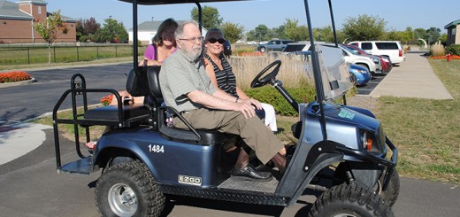 From left, Karen Bohn, Alyn Bernell and Melody Jones took part in a golf cart tour along the Alyn Bernell Mile of Monon Trail. (Photo by Anna Skinner)