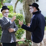 Jared Thies, left, and Ted Soliday prepare for their roles in the Ghost Walk. (Photo by Theresa Skutt)
